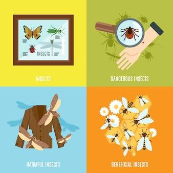 Conjunto plano de insetos