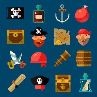 Conjunto plano de jogo de pirata