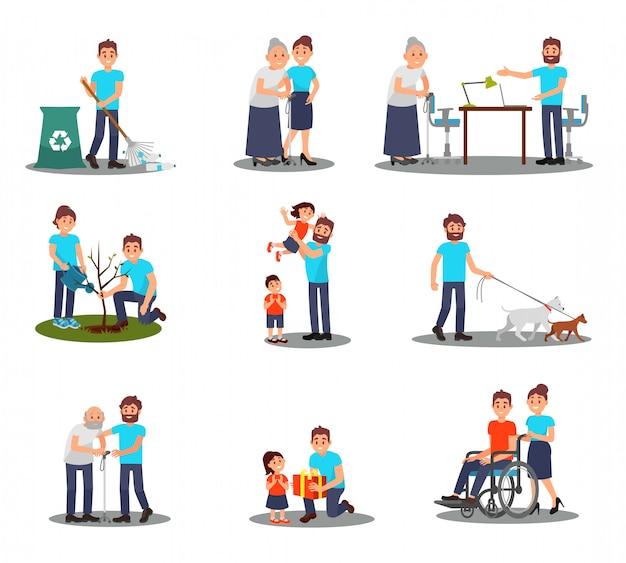Conjunto plano de jovens voluntários em ação, plantando árvores, colhendo garrafas de plástico, passeando com cães, ajudando idosos e pessoas doentes
