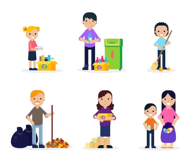 Conjunto plano de limpeza de lixo