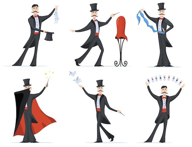 Conjunto plano de mágico elegante mostrando truques de mágica