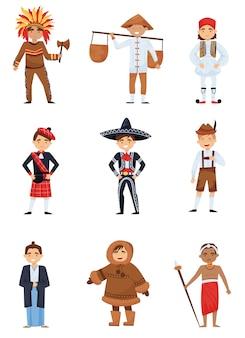 Conjunto plano de meninos em trajes nacionais de diferentes países. crianças sorridentes em várias roupas tradicionais
