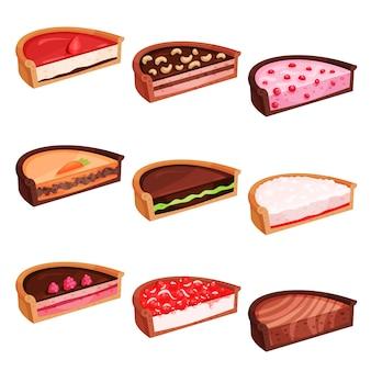 Conjunto plano de metades de tortas com sabores diferentes. sobremesa deliciosa e doce. produtos de confeitaria