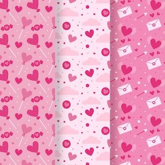 Conjunto plano de padrões do dia dos namorados