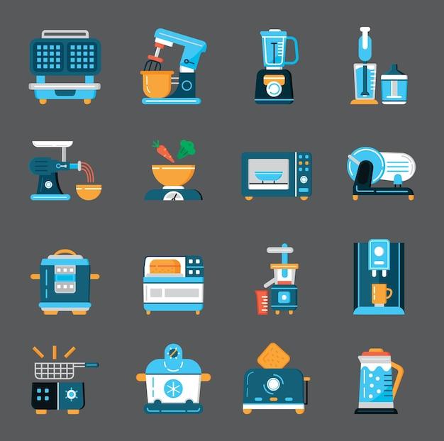 Conjunto plano de pequenos aparelhos de cozinha, vetor ferramentas domésticas, símbolo para aplicativo da web