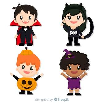 Conjunto plano de personagens de crianças de halloween