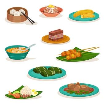 Conjunto plano de pratos tradicionais da malásia. sobremesas doces e lanches. comida asiática