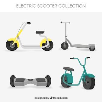 Conjunto plano de scooters elétricos