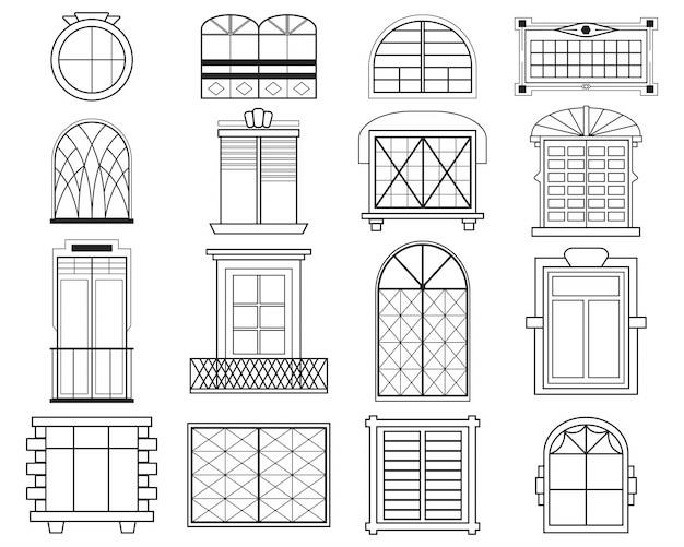Conjunto plano de silhuetas diferentes de molduras de janela