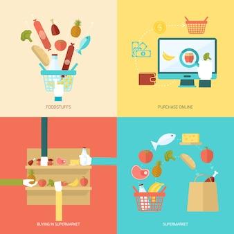 Conjunto plano de supermercado