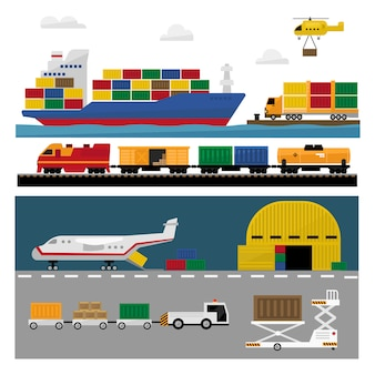 Conjunto plano de transporte e envio
