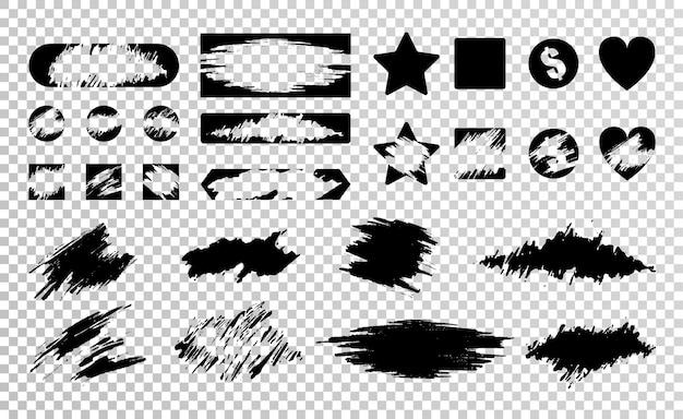 Conjunto plano de várias ilustrações isoladas de raspadinhas pretas