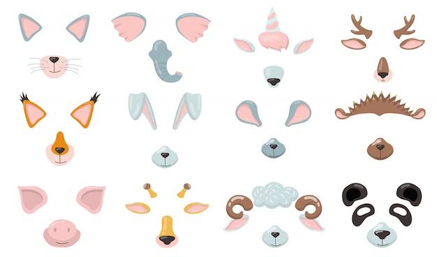Conjunto plano de várias máscaras de telefone de animais