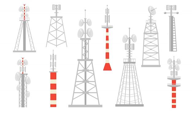 Conjunto plano de várias torres de rádio