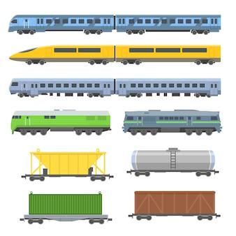 Conjunto plano de vários trens de passageiros e carga