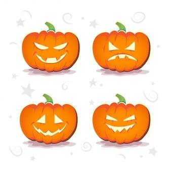 Conjunto plano de vetor de abóboras de halloween.
