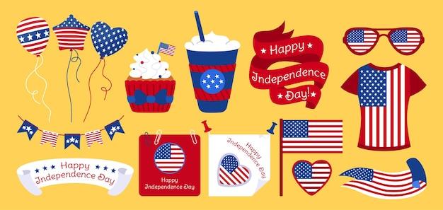 Conjunto plano do dia da independência americana, bandeira fita tshirt flâmula guirlanda papel muffin de vidro nota