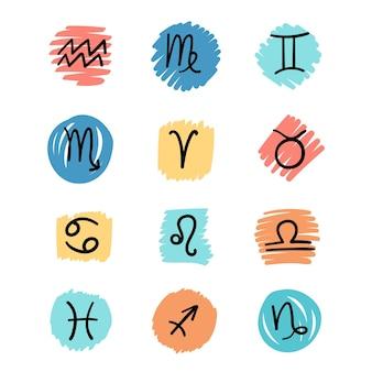 Conjunto plano e simples de signos astrológicos pretos isolados