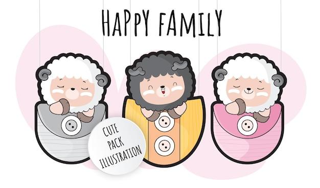 Conjunto plano fofo de ilustração de ovelhas bebê para crianças