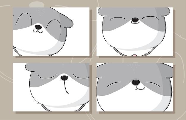 Conjunto plano fofo de ilustrações de cartão de bebê gato para crianças