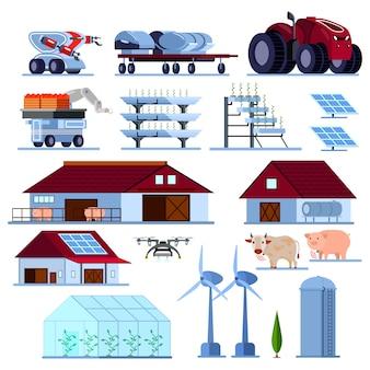 Conjunto plano ortogonal de agricultura inteligente