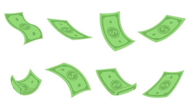 Conjunto plano verde de dólares voando