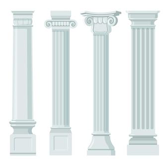 Conjunto plano vintage de colunas clássicas Vetor Premium
