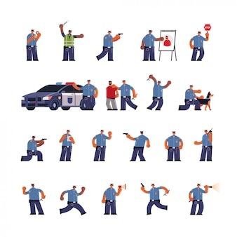 Conjunto policiais masculinos em poses diferentes misturam policiais de corrida em uniforme segurança autoridade justiça serviço conceito plana comprimento total