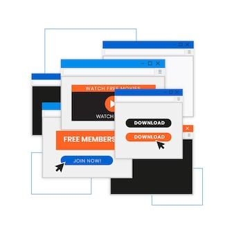 Conjunto pop-up minimalista de design plano