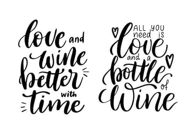 Conjunto positivo de provérbios engraçados de vinho para cartaz no design de camiseta de café barcitação de vetor de amor e vinho