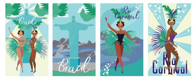 Conjunto poster convite brazil rio carnival flat.
