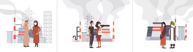 Conjunto povos em máscaras protetoras andar ao ar livre resíduos tóxicos poluição do ar indústria smog poluição ambiente conceitos coleção industrial paisagem comprimento total horizontal