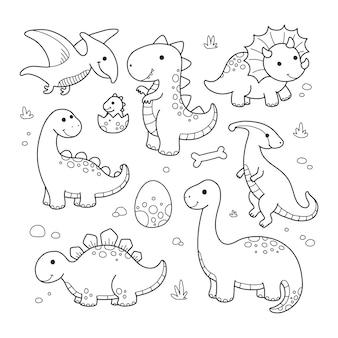 Conjunto pré-histórico de desenho de animal de dinossauro