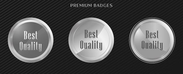 Conjunto premium de etiquetas prateadas de selo