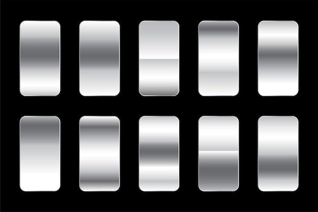 Conjunto premium de gradientes de prata metálica