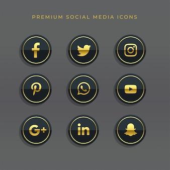 Conjunto premium de ícones e logotipos de mídia social dourado