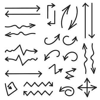 Conjunto preto de 26 setas desenhadas a mão