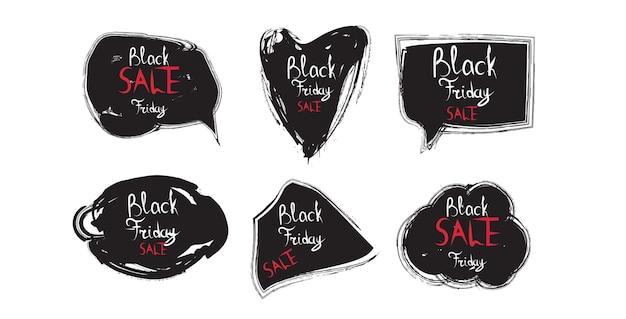 Conjunto preto de adesivos de sexta-feira com desconto coleção de emblemas conceito de compras de férias grande etiqueta