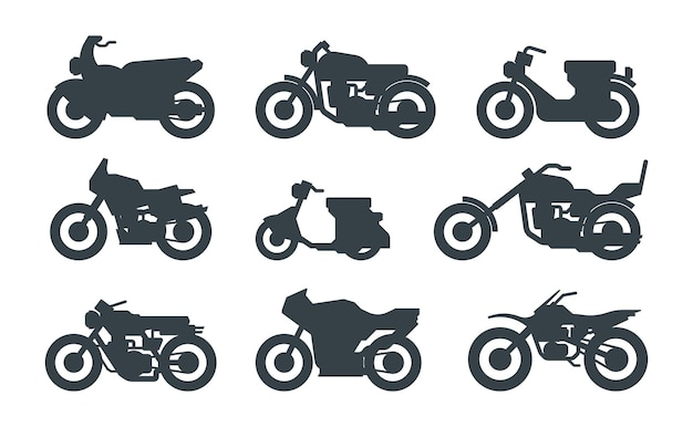 Conjunto preto de diferentes veículos motorizados. roadster, helicóptero, scooter. bicicletas de rua modernas. scrambler, sportbike, cruiser. silhuetas de motocicletas isoladas em branco