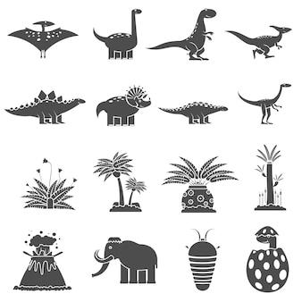 Conjunto preto de dinossauros