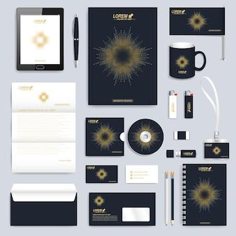 Conjunto preto de modelo de identidade corporativa do vetor. maquete de papelaria empresarial moderna. design de marca com linhas e pontos conectados de forma dourada redonda. medicina, ciência, conceito de tecnologia.