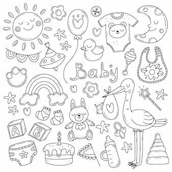 Conjunto preto e branco com elementos sobre o nascimento de uma criança em um estilo simples e fofo de doodle
