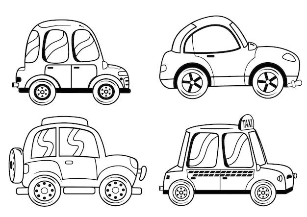 Conjunto preto e branco de carros de ilustração vetorial