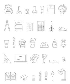 Conjunto preto e branco de material escolar kawaii colorido bonito.