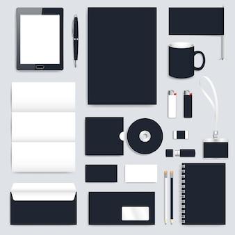 Conjunto preto em branco de modelo de identidade corporativa de vetor