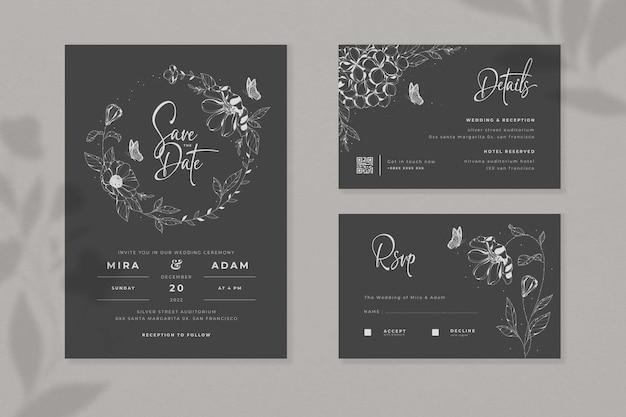 Conjunto preto minimalista de convite de casamento