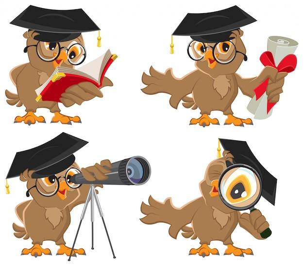 Conjunto professor coruja lendo livro e aparência