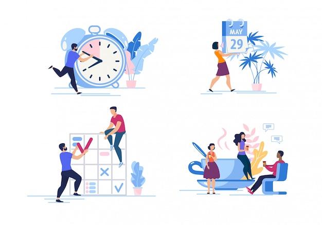 Conjunto publicidade cartaz gerenciamento de tempo dos desenhos animados.