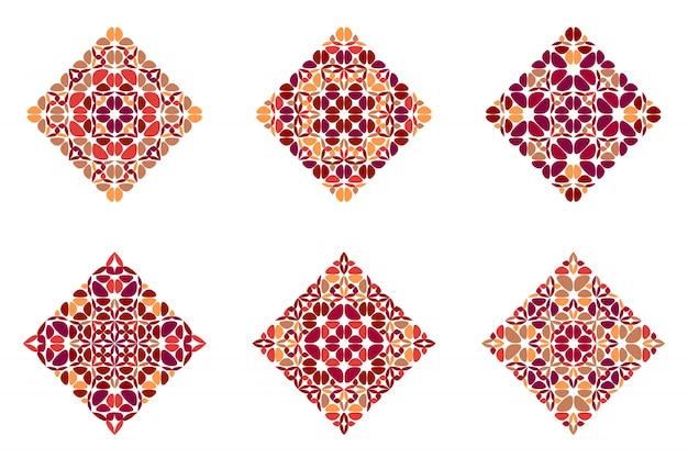 Conjunto quadrado colorido abstrato geométrico pétala ornamentado
