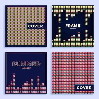 Conjunto quadrado colorido padrão de equalizador de música abstrata para cartaz ou capa.